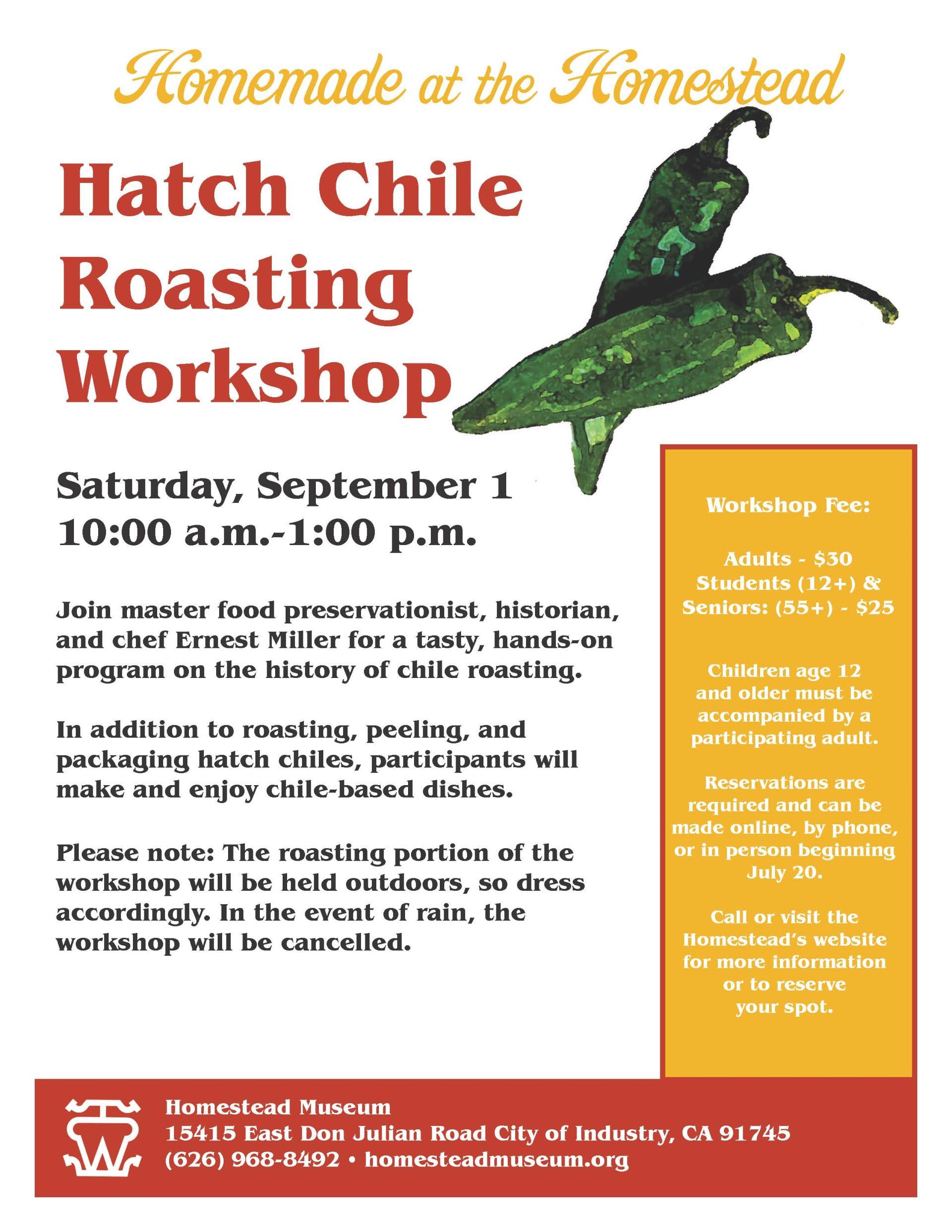 Chile Roasting Workshop flyer 2018