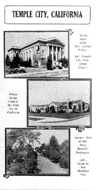 Promotional brochure for Temple City, circa 1928